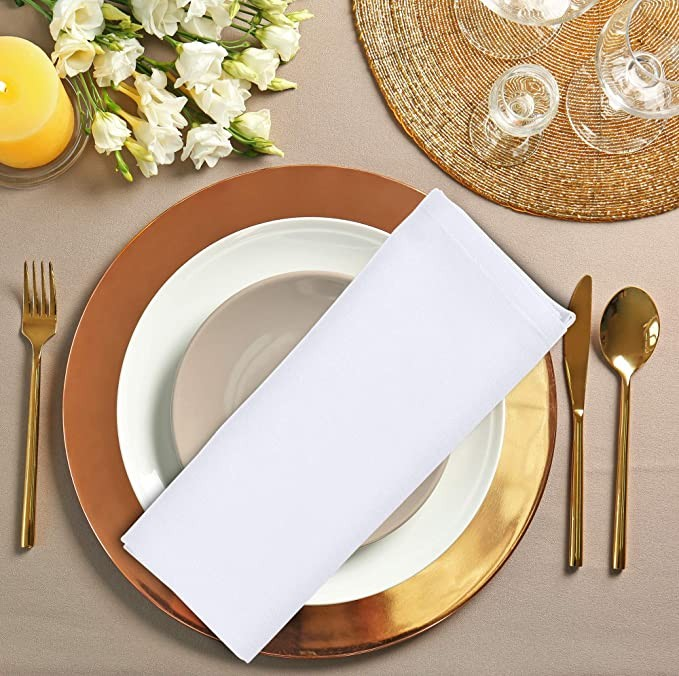 12 Pack White Cloth Dinner Napkins 18x18