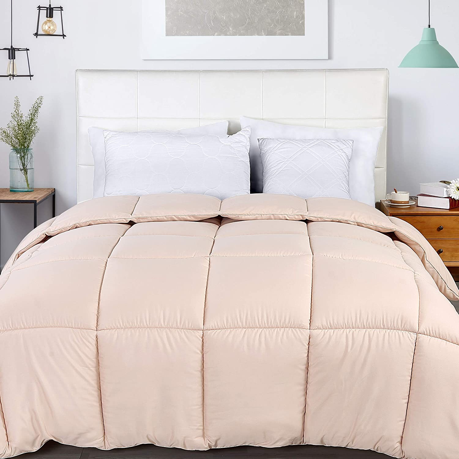 Box Stitched Down Alternative Comforter Queen Beige