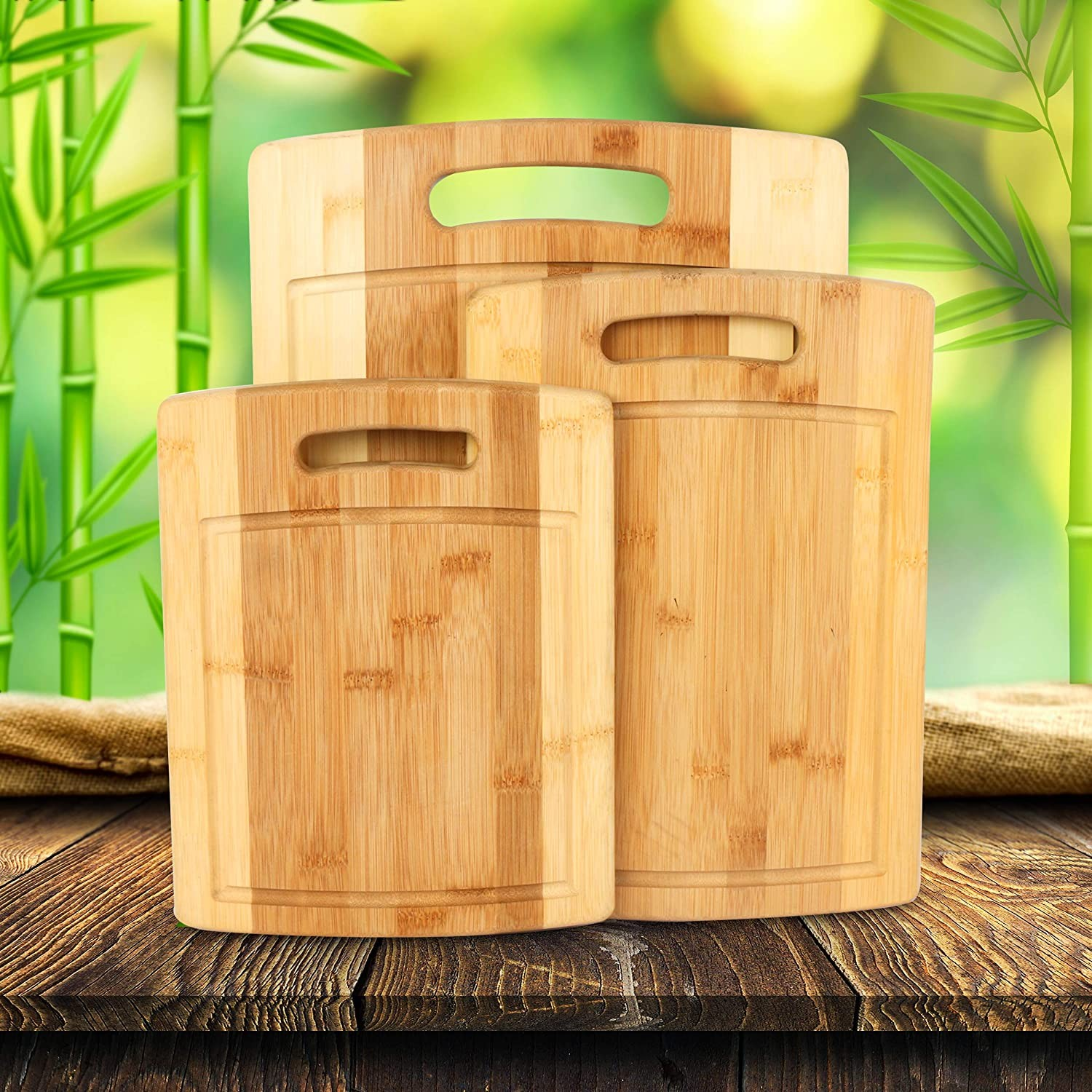Natural Organic Bamboo Cutting Boards with Juice Grooves-3 Piece Set