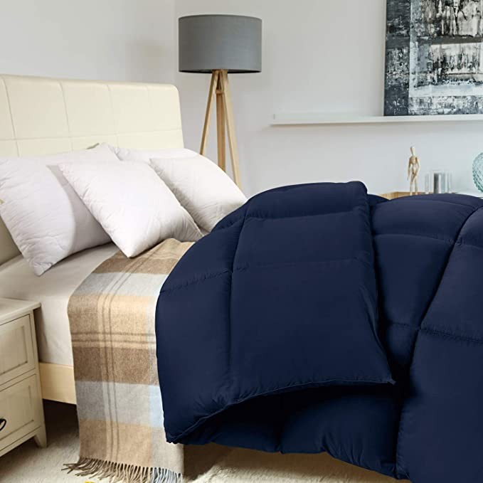 Box Stitched Down Alternative Comforter King Navy