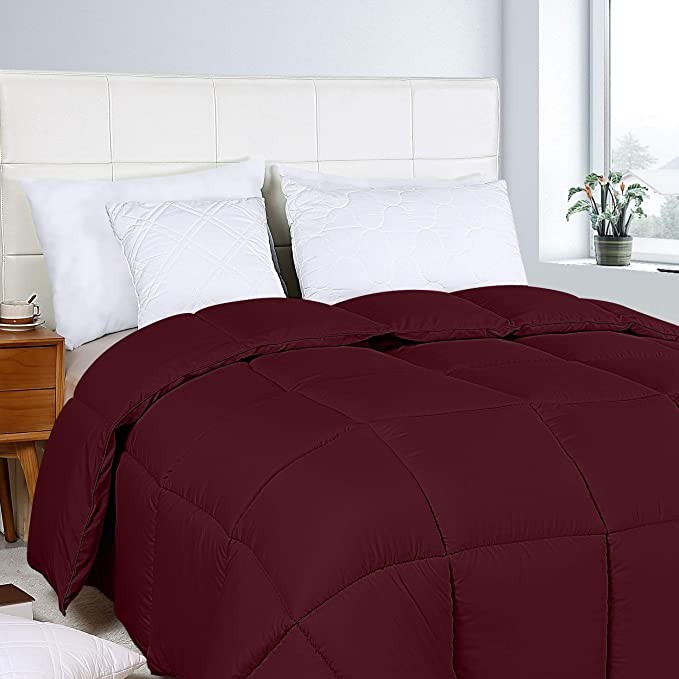 Box Stitched Down Alternative Comforter Queen Burgundy