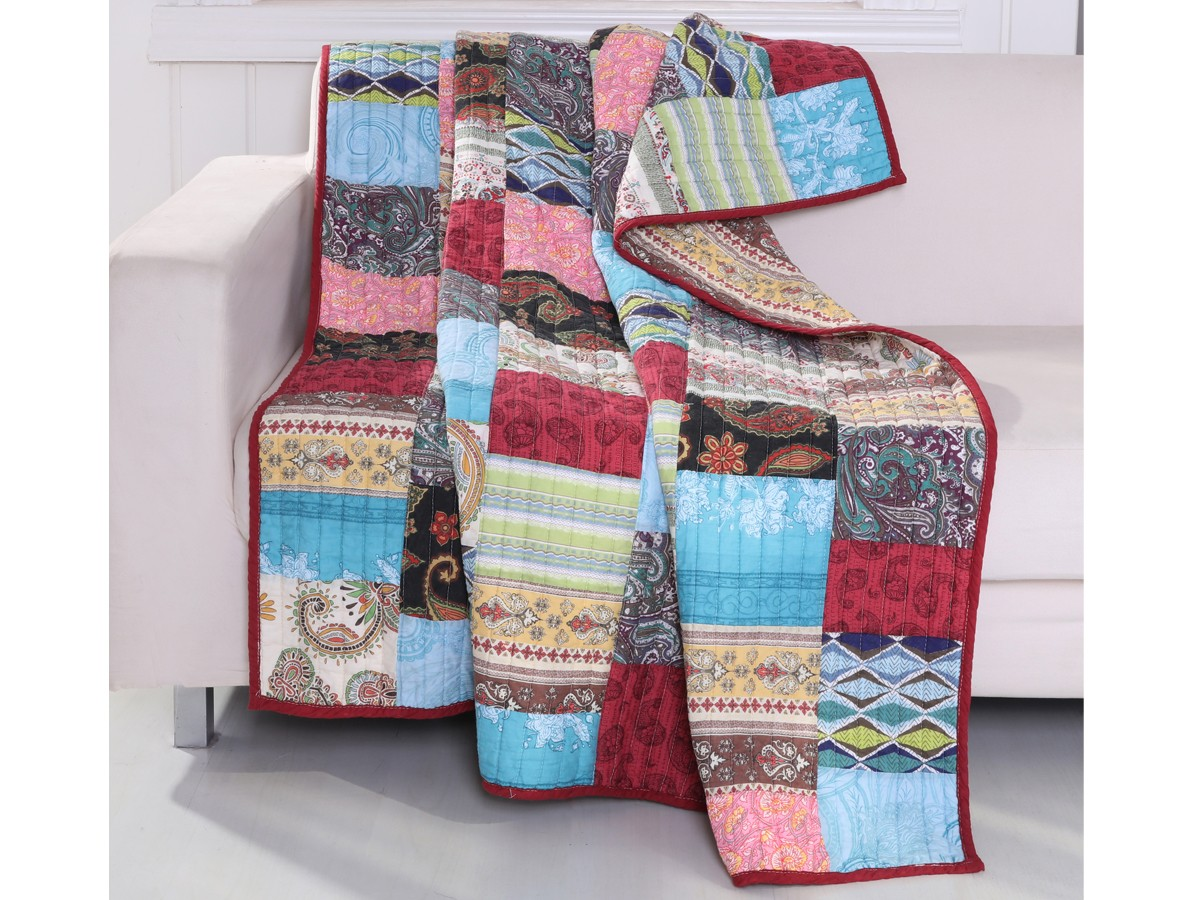 Vintage Bohemian Quilted Throw